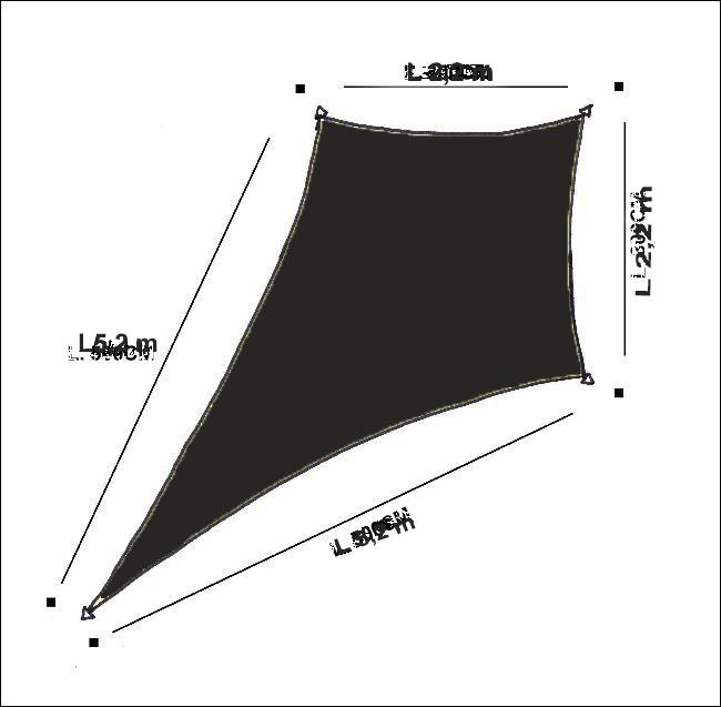 Drage solsejl HDPE - 2,2x2,2x5,2x5,2m