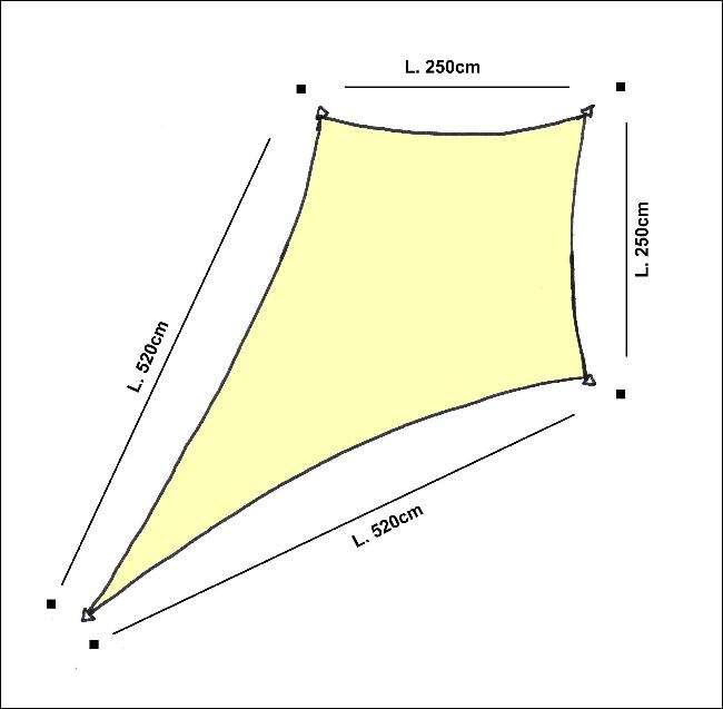 Drage solsejl HDPE - 2,5x2,5x5,2x5,2m